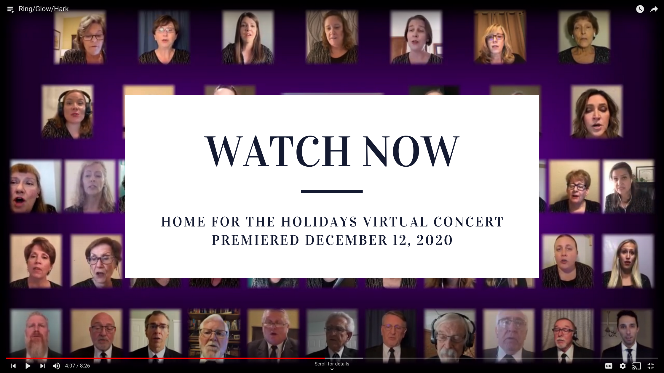 Watch and listen to Home for the Holidays - virtual concert premiered december 12, 2020